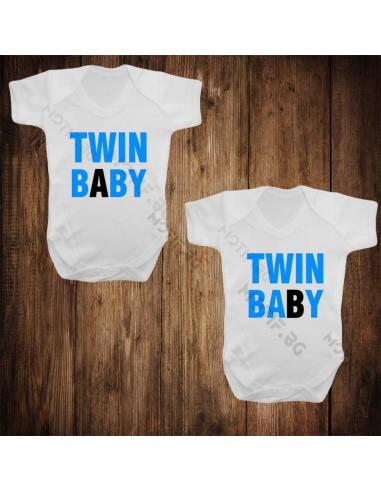 Бебешки бодита Motif Twin baby v2