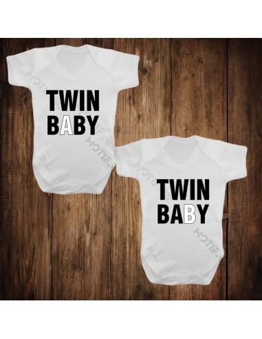 Бебешки бодита Motif Twin baby v3